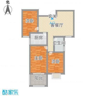 建设御景城邦92.00㎡18号户型3室3厅1卫1厨