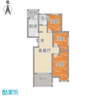 建设御景城邦92.00㎡6号A户型3室3厅1卫1厨