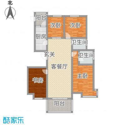 建设御景城邦128.00㎡13号户型4室4厅2卫1厨