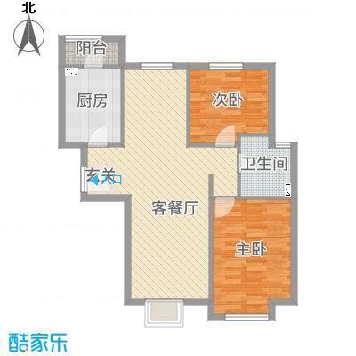 桃源山庄99.20㎡一期标准层C户型2室2厅1卫1厨
