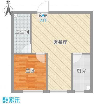 联想科技城三期65.00㎡公寓C户型2室2厅1卫1厨
