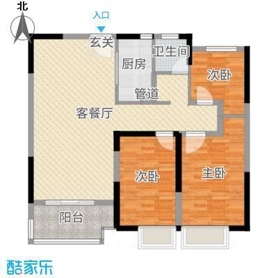 君河湾111.00㎡49#楼B1户型3室3厅1卫1厨