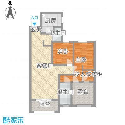旭辉香樟公馆95.48㎡3#B户型2室2厅2卫1厨