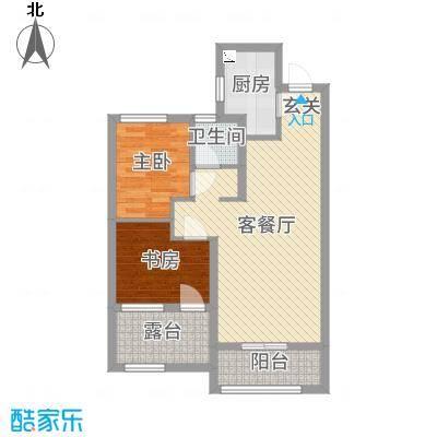 旭辉香樟公馆76.77㎡5#B户型3室3厅1卫1厨