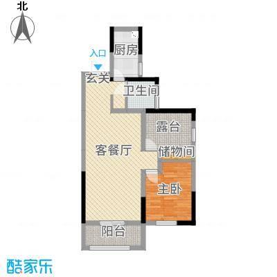 旭辉香樟公馆70.48㎡6号栋C户型2室2厅1卫1厨