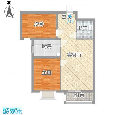 翡翠家园84.03㎡5号楼B户型2室2厅1卫1厨