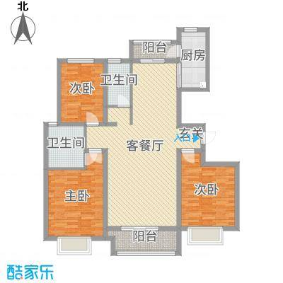 翡翠家园135.70㎡3号楼F户型3室3厅2卫1厨