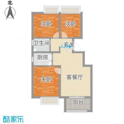 荣盛楠湖郦舍99.92㎡二期8#B户型3室3厅1卫1厨