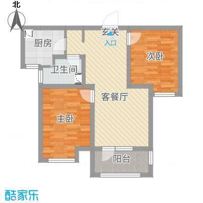 荣盛楠湖郦舍83.72㎡二期4#B户型2室2厅1卫1厨