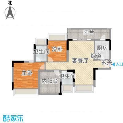佳兆业东江豪门99.24㎡4-5栋标准层01户型2室2厅2卫1厨