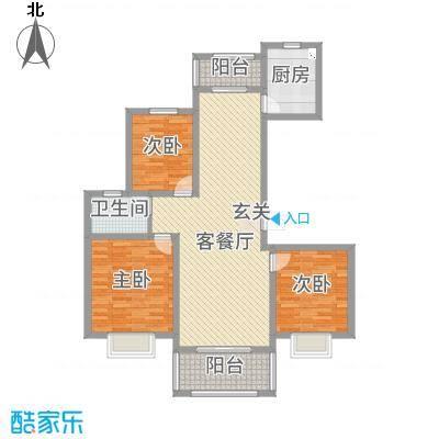 绿地泊林公馆118.00㎡B户型3室3厅1卫1厨