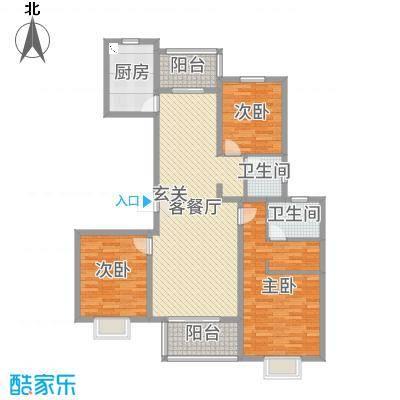 绿地泊林公馆134.00㎡C户型3室3厅2卫1厨