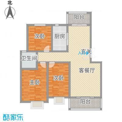 碧龙江畔127.43㎡C户型3室3厅1卫1厨
