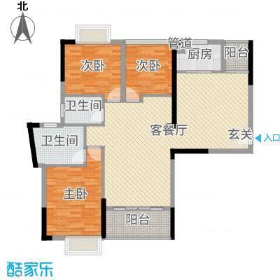 御水湾122.00㎡6幢1座、2座02户型3室3厅2卫1厨