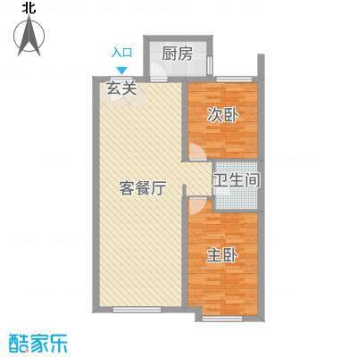 中建城95.00㎡三期402#标准层J3户型2室2厅1卫1厨