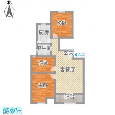 万泰广场95.00㎡高层B户型3室3厅1卫1厨