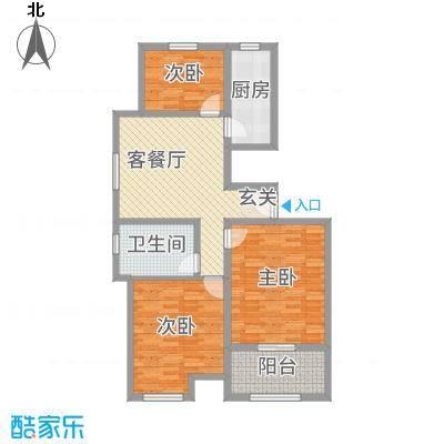 万泰广场101.00㎡高层A户型3室3厅1卫1厨
