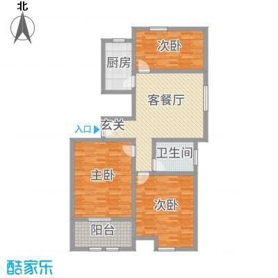 万泰广场114.00㎡高层C户型3室3厅1卫1厨