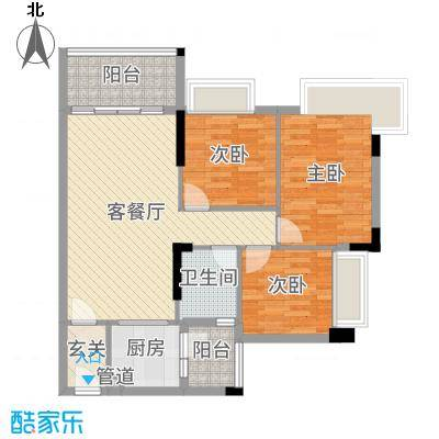 文华豪庭88.35㎡7幢之二02户型3室3厅1卫1厨