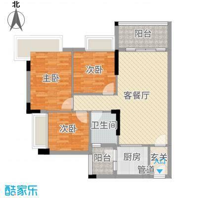 文华豪庭88.35㎡7幢之一02户型3室3厅1卫1厨