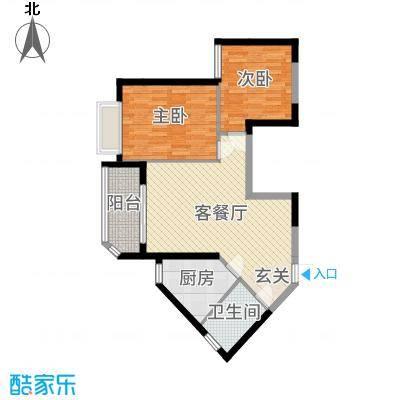 恒大绿洲85.00㎡10#H户型2室2厅1卫