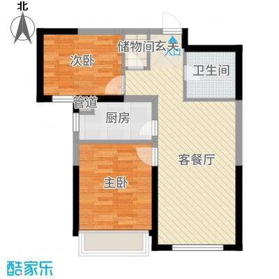 中海国际社区81.00㎡G1734F、G1634F、G1534F等标准层G1户型2室2厅1卫1厨