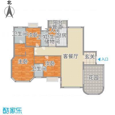 恒大金碧天下223.31㎡一期联排别墅E20#1层户型3室3厅3卫1厨