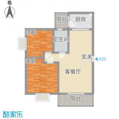 江岸山景85.15㎡B户型2室2厅1卫1厨-副本