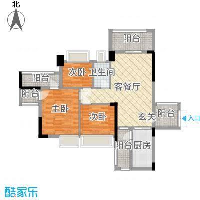 博达汇峰102.00㎡4栋07户型3室3厅2卫1厨
