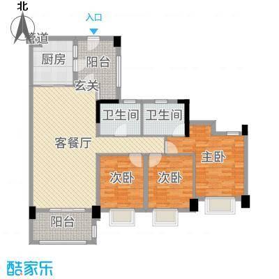 广佛新世界庄园129.00㎡T12栋03单元户型3室3厅2卫1厨