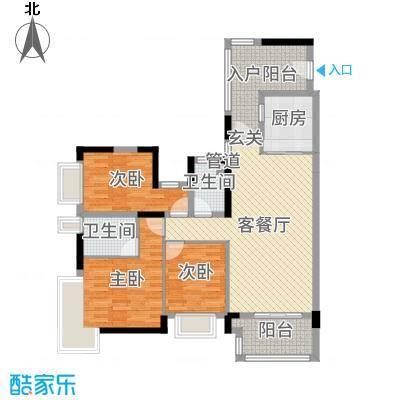 广佛新世界庄园131.00㎡T12栋04单元户型3室3厅2卫1厨