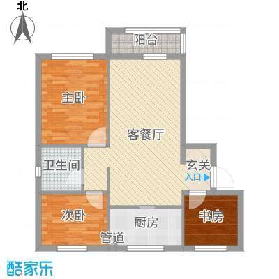 博圣・御府龙湾86.50㎡-户型3室2厅1卫1厨