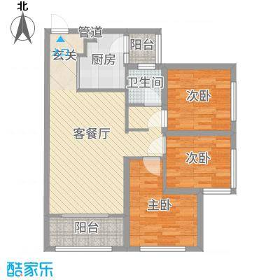 滨海俊园93.00㎡E户型3室3厅1卫1厨