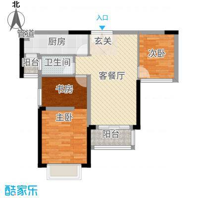 御湖湾70.00㎡公寓13#户型3室3厅1卫1厨