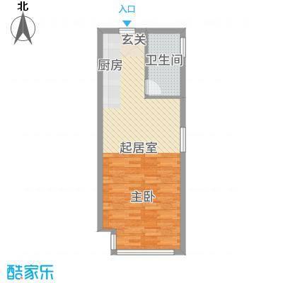 富强城65.21㎡305#楼标准层O户型1室1厅1卫1厨