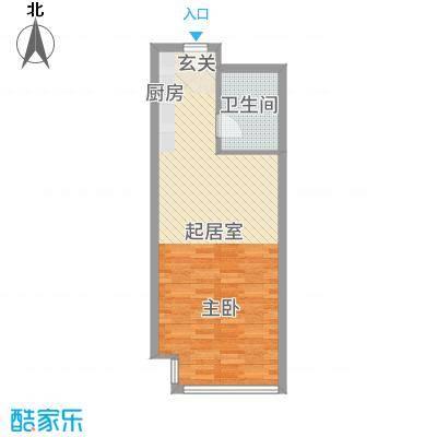 富强城60.84㎡305#楼标准层M户型1室1厅1卫1厨
