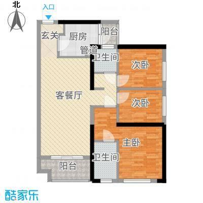 广佛颐景园90.25㎡2栋04/05单位户型3室3厅2卫1厨