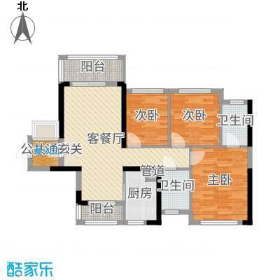 广佛颐景园89.03㎡3栋1座04单位/3栋2座01单位户型3室3厅2卫1厨