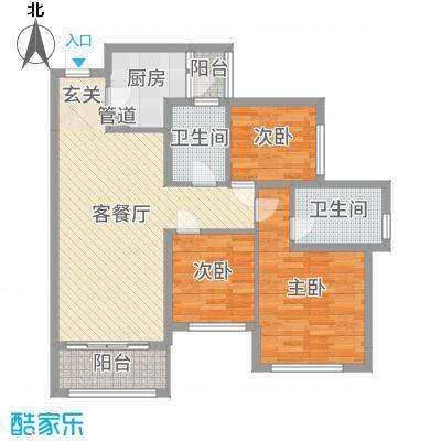 广佛颐景园89.61㎡2栋/3栋1座2座02/03单位户型3室3厅2卫1厨