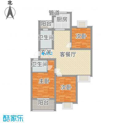 久和国际新城111.05㎡D1户型3室3厅2卫1厨