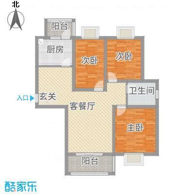 华昊皇家景园102.77㎡1#和2#边户、4#、8#和5#西户、9#东户B户型3室3厅1卫