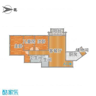 祈福新村迎风阁128方三户两厅的户型图-副本