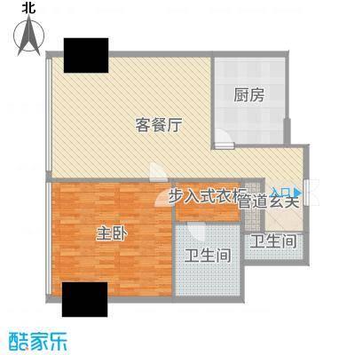 东方之门114.00㎡1#华府一区20层标准层2007户型1室1厅2卫1厨