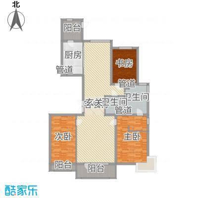 梧桐府177.00㎡2#、5#、7#楼标准层C户型3室3厅2卫1厨
