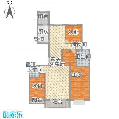 梧桐府205.00㎡8#楼标准层F户型3室3厅2卫1厨