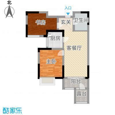 香港城77.00㎡D-2户型2室2厅1卫1厨