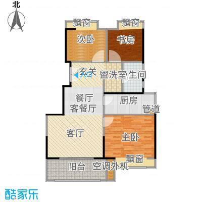 三盛松江颐景园89.00㎡三居户型3室1厅