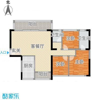 金沙世纪城115.00㎡D户型4室4厅2卫1厨