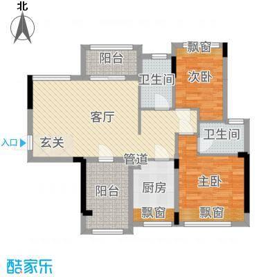 龙光・水悦龙湾90.00㎡二期3座02单元户型3室3厅1卫1厨