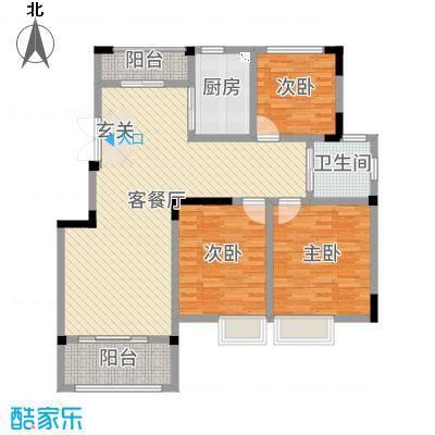 旷达太湖花园120.93㎡31、32#标准层B3户型3室3厅1卫1厨